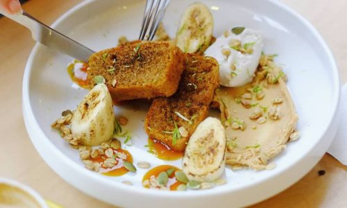 A highlight of Artel's latest menu is the vegan banana bread. Served with fresh banana, peanut butter, coconut ice cream, passion fruit coulis, toasted seeds, crushed nuts and lime, it's a delight!