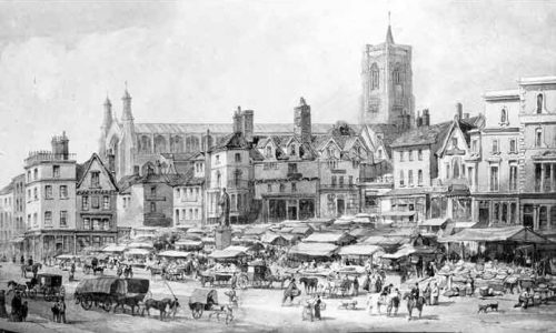 Norwich Market Place 1855. Copyright David_Hodgson